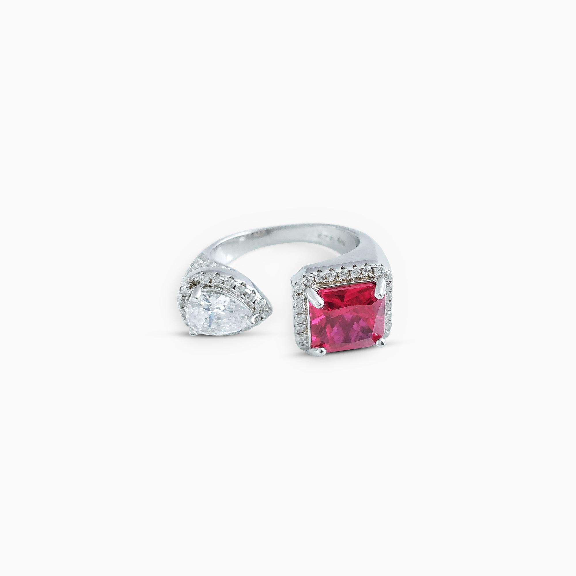 Red Modern Cuff Silver Ring