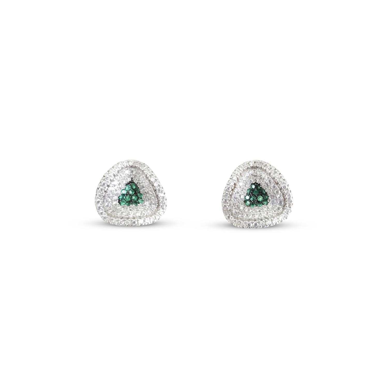 Green Silver Stud Earrings